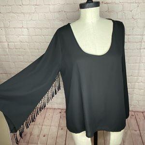 Haute Society Long Sleeve Shirt Tassels Size M